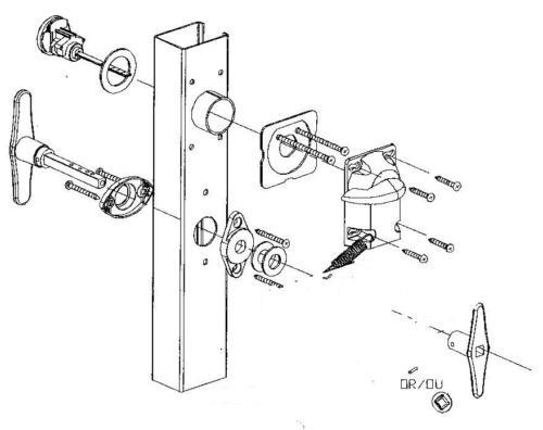 Garage Door Lock Cylinder /& T Handle Kit