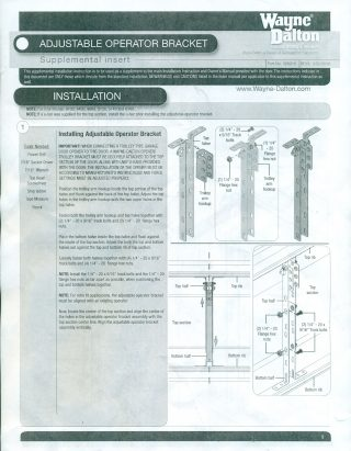 Wayne Dalton Operator Bracket Installation