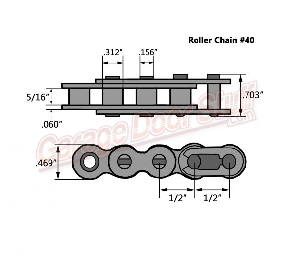 Roller Chain #40 Line Drawing