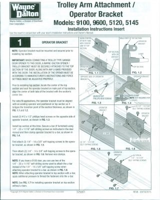 Trolley Arm Operator Bracket Instructions
